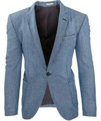 Pánské světle modré elegantní sako s jemným vzorem