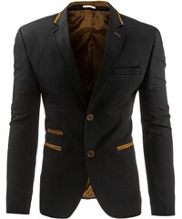 Pánské černé ležérní sako s hnědými detaily