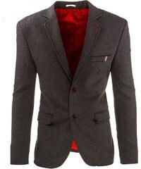 Šedé pánské sako s červenými knoflíky