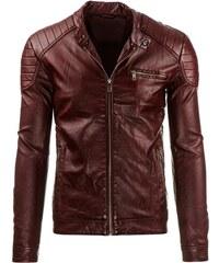 Luxusní pánská bordó kožená bunda