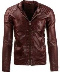 Pánská bordó kožená bunda s podšívkou