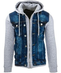 Pánská džínová kombinovaná bunda s kapucí