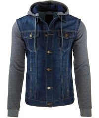 Pánská džínová bunda s kapucí