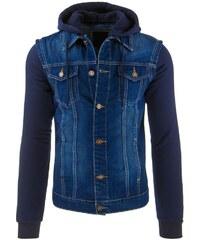 Modrá džínová bunda s kapucí