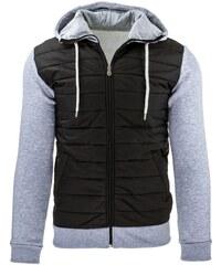 Černá pánská bunda s kapucí a šedými rukávy