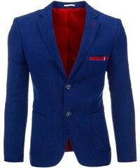 Modré pánské vzorované sako do společnosti