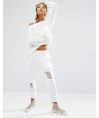 Daisy Street - Pantalon de survêtement à effet usé - Blanc