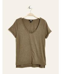 tee-shirt col v basic kaki chiné Jennyfer