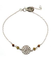 Oscar Bijoux Bracelet et Rosace en Argent avec des Perles Marrons