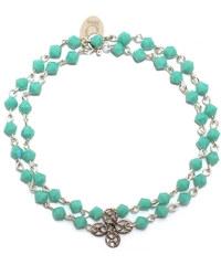 Oscar Bijoux Bracelet en Argent Rosace et Perles Bleues Tiffanie