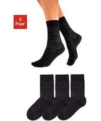 Große Größen: Tom Tailor Socken (3 Paar) mit Rosenmuster, 3x schwarz, Gr.35-38-39-42