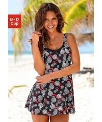 Große Größen: Badeanzug-Kleid, LASCANA, schwarz bedruckt, Gr.38 (75)-54 (115)