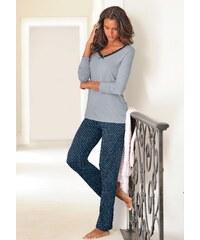 Große Größen: LASCANA Edler Pyjama mit gepunkteter Hose, grau-nachtblau gepunktet, Gr.32/34-44/46