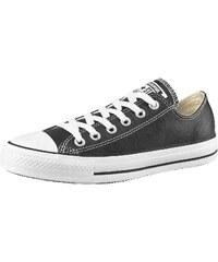 Große Größen: Converse All Star Basic Leather Ox Sneaker, Schwarz, Gr.36-45