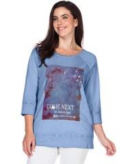 Große Größen: sheego Casual 3/4-Arm-Shirt mit Frontdruck, hellblau, Gr.40/42-56/58