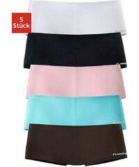 FLG FLASHLIGHTS Große Größen: Flashlights Microfaser-Panties mit stark angeschnittenem Bein und knalligen Farben (5 Stück), braun+rosa+türkis+schwarz+weiß, Gr.32/34-56/58