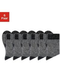 Große Größen: H.I.S Geringelte Socken (6 Paar) mit druckfreiem Bündchen, 6x schwarz-ecru, Gr.35-38-39-42