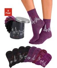 Große Größen: Arizona Socken (8 Paar) im Städtedesign in der Geschenkdose, 4x beere + 4x schwarz, Gr.35-38-39-42