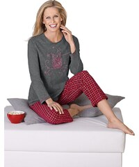 Große Größen: Schlafanzug, Comtessa, grau-rot, Gr.36/38-52/54