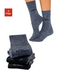 Große Größen: s.Oliver RED LABEL Bodywear Socken (3 Paar) außen mit Wolle, Made in Germany, 2x marine + 1x jeans meliert, Gr.35-38-39-42