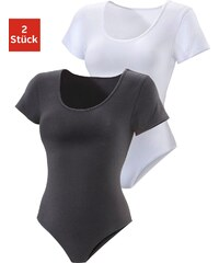 Große Größen: Vivance Active T-Shirt-Body (2 Stück), schwarz+weiß, Gr.32/34-48/50