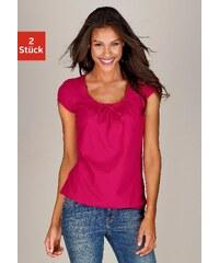 Große Größen: Buffalo Shirts (2 Stück) mit gerafftem Ausschnitt, »Cotton made in Africa«, pink + weiß, Gr.32/34-44/46