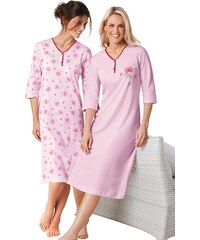 Große Größen: Nachthemden, Ascafa (2 Stck.), rosé + rosé-bedruckt, Gr.36/38-52/54