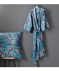 Große Größen: Kimono, Zucchi, »Garden«, mit Paisleys, blau, Gr.L/XL-L/XL