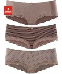 Große Größen: LASCANA Spitzenpanties (3 Stück) mit Zierschleife und Spitze, taupe uni + gepunktet + gestreift, Gr.32/34-44/46