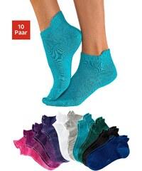 KANGAROOS® Große Größen: KangaROOS Sneakersocken (10 Paar) mit erhöhtem Bündchen, himbeere + schwarz + pink + lila + pflaume + weiß + grau + türkis + petrol + blau, Gr.35-38-39-42