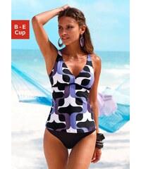 Große Größen: Bügel-Tankini, s.Oliver RED LABEL Beachwear, schwarz-lila bedruckt, Gr.40 (80)-54 (115)