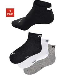 Große Größen: PUMA Sportliche Kurzsocken (3 Paar) mit Rippbündchen, schwarz + weiß + grau meliert, Gr.35-38-43-46