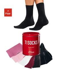 S.OLIVER RED LABEL Große Größen: s.Oliver Freizeit- und Businesssocken (7 Paar) in der Box, schwarz + ecru + pink + rot + hellgrau + rosa + dunkelgrau, Gr.31-34-47-48
