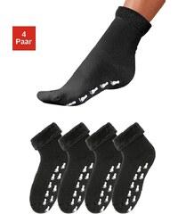 Große Größen: GO IN Schwarze Stoppersocken (4 Paar) mit Antirutschsohle & Vollfrottee, 4x schwarz, Gr.35-38-39-42