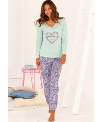 Große Größen: Buffalo Pyjama mit Paisleymuster & passendem Frontprint, mint/gemustert, Gr.32/34-44/46