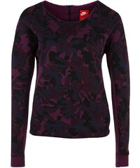 Große Größen: Nike Sportswear Tech Fleece Crew Allover Print Sweatshirt Damen, violett / schwarz, Gr.XS - 32/34-XL - 48/50