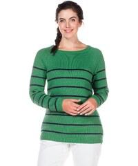 Große Größen: sheego Casual Geringelter Pullover, grün-marine, Gr.44/46-56/58
