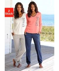 Große Größen: Vivance Dreams Pyjamas (2 Stück) mit seitlichem Print, ecru-grau meliert + koralle-marine, Gr.32/34-44/46