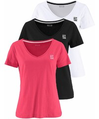 Große Größen: H.I.S T-Shirt (Packung, 3 tlg.), schwarz-weiß-koralle, Gr.32/34-48/50