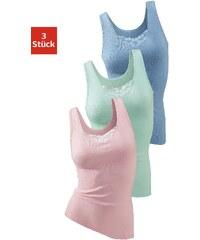 Große Größen: Packung: Spitzenhemd, Petite Fleur, blau + rosé + grün, Gr.34-52