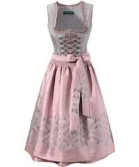 Große Größen: Country Line Dirndl midi mit dekorativer Bänderschnürung, grau/rosa, Gr.36-50