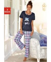 Große Größen: Vivance Dreams Pyjamaset (3 tlg.) mit karierter Hose & Teddyprint, marine kariert, Gr.40/42-56/58