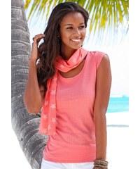 Große Größen: Beachtime Set: Shirt und Schal, koralle, Gr.32/34-44/46