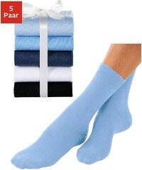Große Größen: GO IN Basic-Socken (5 Paar) ganz unifarben, 5x Blautöne, Gr.35-38-39-42