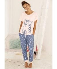 Große Größen: Vivance Dreams Pyjama mit Ringelschwanzprint auf der Rückseite, apricot/gemustert, Gr.32/34-56/58