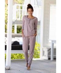 Große Größen: ARIZONA Basic-Pyjama in melierter Qualität mit Knopfleiste, mauve meliert, Gr.32/34-56/58