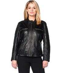 Große Größen: sheego Style Lederjacke mit Rautensteppungen, schwarz, Gr.40-58