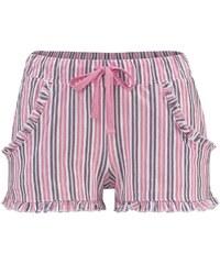 Große Größen: LASCANA Shorts mit dezentem Rüschenbesatz, rosa gestreift, Gr.32/34-44/46