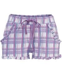 Große Größen: LASCANA Shorts mit dezentem Rüschenbesatz, lila kariert, Gr.32/34-44/46