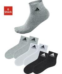 Große Größen: adidas Performance Kurzsocken (6 Paar) mit Rippbündchen, 2x schwarz+2x grau+2x weiß, Gr.35-38-43-46